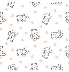teddy bear plush seamless pattern vector image