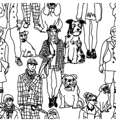 Walking people and dogs seamless pattern vector