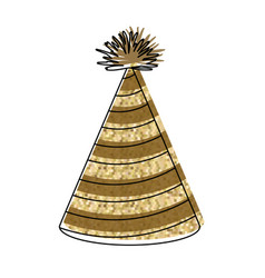 Watercolor silhouette of yellow lines party hat vector