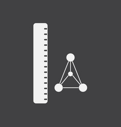 White icon on black background molecules and ruler vector