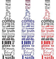 Wine poem text in the bottle shape vector