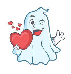 with heart cute ghost character cartoon vector image