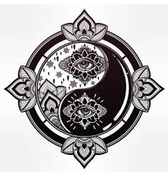 Yin and yang trendy boho symbol vector