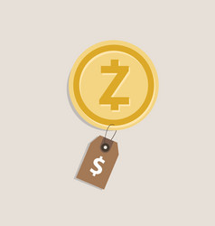 zcash coin price value of crypto-currency in vector image vector image