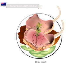 Roasted lamb chop the popular dish of new zealand vector