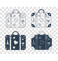 Silhouette icon suitcase for travel vector