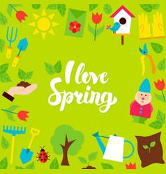 i love spring lettering postcard vector image