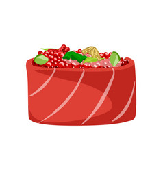Sushi with salmon fish topped with red caviar vector
