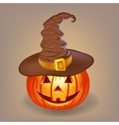 Good pumpkin in a witch hat for halloween vector