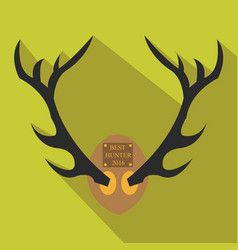 Deer antlers horns icon in flat style with long vector