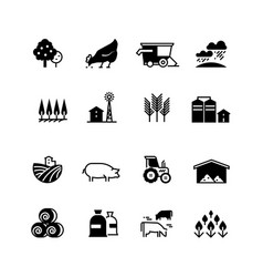 Organic farm and agriculture silhouette vector