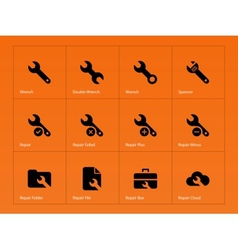 Repair wrench icons on orange background vector