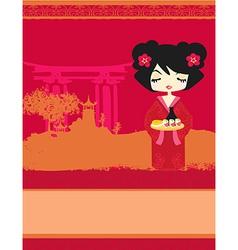 beautiful Asian girl enjoy sushi - menu template vector image