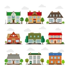 Cute houses in flat style vector