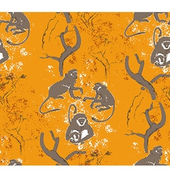 Abstract grungy seamless pattern trees and monkeys vector