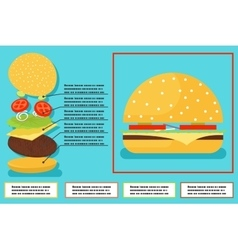 Sandwich burger hamburger ingredients structure vector