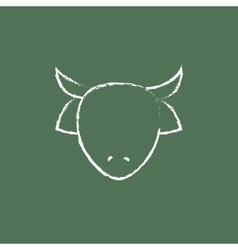 Cow head icon drawn in chalk vector