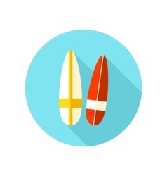 Surfboard flat icon with long shadow vector