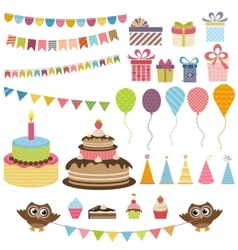 Birthday party elements set vector
