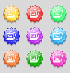 File jpg icon sign symbol on nine wavy colourful vector