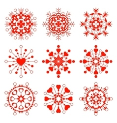 Snowflake heart view icon set christmas vector