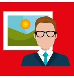 Man and picture isolated icon design vector