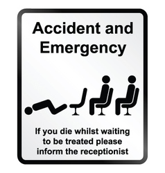 Accident and emergency information sign vector