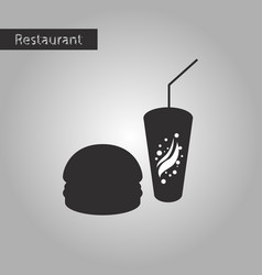 black and white style icon burger and soda vector image