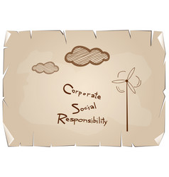 Blue paper with corporate social responsibility co vector