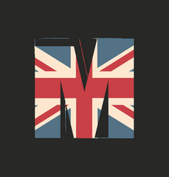 Capital 3d letter m with uk flag texture isolated vector
