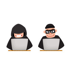 cartoon hackers using laptop for computer attack vector image