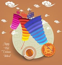 Chinese lantern festival mid autumn full moon cake vector