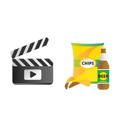 Clapper board and chips food vector
