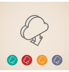 Cloud with download arrow isometric icons vector