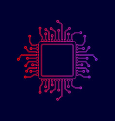 cpu microprocessor line icon vector image