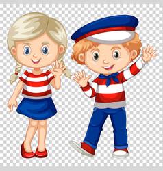 Cute boy and girl waving vector
