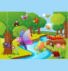 Different insects flying over the river vector