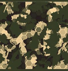 digital gexagonal camo seamless pattern vector image vector image