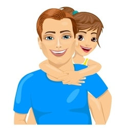 father and his little girl in piggyback smiling vector image
