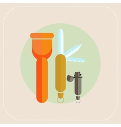 Flashlight knife lighter icon vector image vector image
