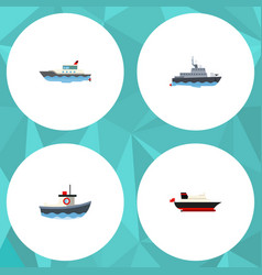 flat icon ship set of sailboat ship transport vector image vector image