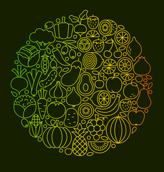 fruit vegetable line icons design vector image vector image
