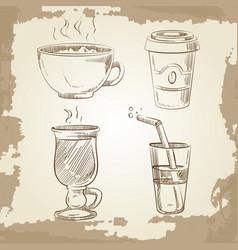 hand drawn coffee tea and lemonade on vintage vector image vector image