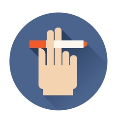 hand holding a cigarette icon vector image vector image