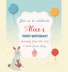 Happy birthday invitation card with balloons and vector
