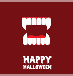 Happy halloween vampire teeth card vector