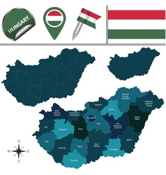 Hungary map with named divisions vector image vector image