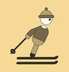Icon in flat design skier vector