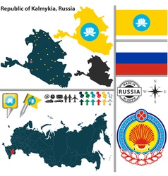 Map of Republic of Kalmykia vector image vector image