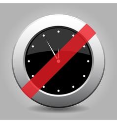 Metallic banned button white last minute clock vector